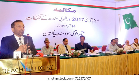 KARACHI, PAKISTAN - SEP 14: Chief of MQM Pakistan, Dr. Farooq Sattar addressing to  participants of political dialogues gathering on Census-2017, at local hotel on September 14, 2017 in Karachi.