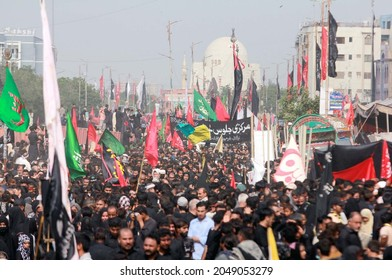KARACHI, PAKISTAN - SEP 28: Shiite mourners of Imam Hussain (A.S) are participating in mourning processions in connection of 40th day Chehlum-e-Hazrat Imam Hussain on September 28, 2021 in Karachi.