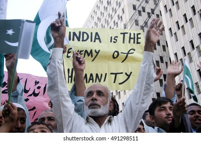 KARACHI, PAKISTAN - SEP 30: Pakistani people hold demonstration against brutality by  Indian Army over the Muslims of Kashmir, on September 30, 2016 in Karachi.