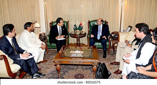 KARACHI, PAKISTAN - SEPT 19: Sindh Chief Minister, Syed Qaim Ali Shah in meeting with Tosheema Hira Head of UNDP, at CM House in Karachi on September 19, 2011 in Karachi, Pakistan.