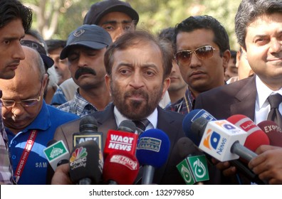 KARACHI, PAKSITAN - MAR 25: (MQM) leader, Dr. Farooq Sattar talks with media persons after filing a petition against the new delimitation of constituencies, on March 25, 2013 in Karachi.