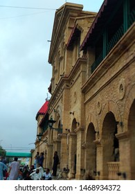 Karachi , Sindh , Pakistan - 2 Aug 2019: Historic Entrance of Karachi Cantt Railway Station . It was built by British India Government. The victorian styled building is iconic and made up of stone