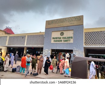 Karachi , Sindh , Pakistan - 3 Aug 2019: Entrance of Karachi Cantt Railway Station where passenger are coming out and going into the station to catch their trains.