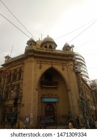 Karachi Sindh Pakistan - 5 Aug 2019: Front view of iconic building of Karachi chamber of commerce and industry in saddar, near Sindh madarsa til Islam University smiu
