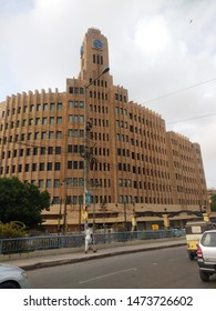 Karachi Sindh Pakistan - 5 Aug 2019: Head office Building EFU insurance at Tower in front of Karachi Port Trust (KPT) Building , Pakistan Stock Exchange (PSX) and other financial institutions