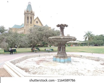 Karachi, Sindh / Pakistan - August 26 2018: The close up view of fountain of Frere Hall Karachi.