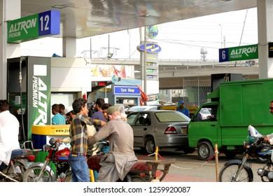 Karachi,Sindh / Pakistan 12 17 2018  Petrol Pump in Karachi