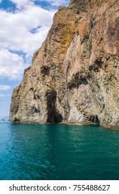 Karadag volcano cave view, Crimea, Russia