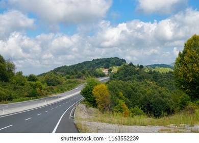 Karadeniz, Eregli - August 19, 2018 : A view of the road Karadeniz. Eregli Zonguldak way. Black Sea, TURKEY