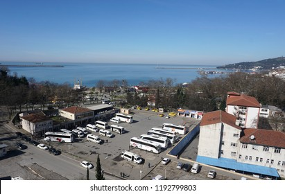 KARADENIZ EREGLI / ZONGULDAK / TURKEY - MARCH 06 2016: Bus Terminal and Coast View from Hotel Window