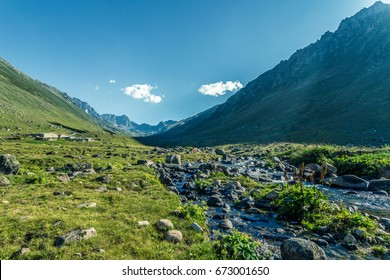 In Karadeniz region of Turkey country, View of Kavrun plateau or tableland which is a village in the Kackar Mountains. Kackar Mountains or simply Kackars are a mountain in Camlihemsin, Rize, Turkey.