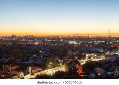 Karaganda after sunset. Kazakhstan