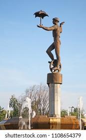 KARAGANDA. KAZAKHSTAN. 06 JUIY 2016 : Fountain near city circus in Karaganda. Kazakhstan