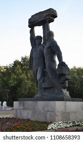 KARAGANDA. KAZAKHSTAN. 06 JUIY 2016 : Sculpture Glory of Miner (Shakhteorskaya Slava) in Karaganda. Kazakhstan
