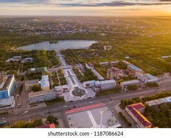 Karaganda / Kazakhstan - 06.10.2018: Centre of Karaganda city