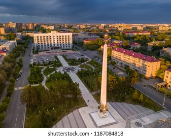 Karaganda / Kazakhstan - 06.10.2018: Stele of Independent in centre of Karaganda city