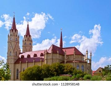 Karaganda, Kazakhstan - 20 Aug 2016: Catholic Church devoted to victims of Karlag (Karaganda Corrective Labor Camp, one of largest Gulag camps).