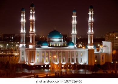 KARAGANDA, KAZAKHSTAN - APRIL 22, 2018: View on the central mosque of the Karaganda region