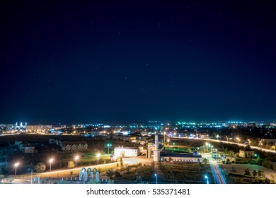 Karaganda, Kazakhstan: Karaganda city mosque number 1 (the old mosque) at night