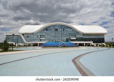 "KARAGANDA, KAZAKHSTAN - JUNE 14: Ice Palace built in 2012. Home arena of ""Saryarka"" professional hockey club June 14, 2014 Karaganda, Kazakhstan."