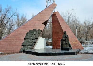 Karaganda, Kazakhstan – March 27, 2019 – Monument dedicated to Temirtau Miners in the Central Park in Karagandy