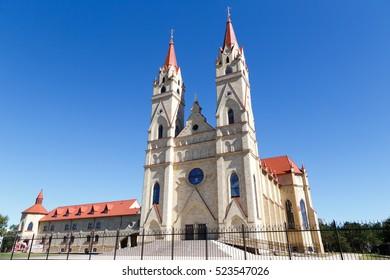 Karaganda, Kazakhstan - September 1, 2016: Roman - Catholic cathedral in the city of Karaganda