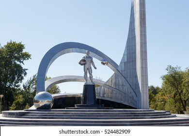 Karaganda, Kazakhstan - September 1, 2016: Monument of space in the city of Karaganda