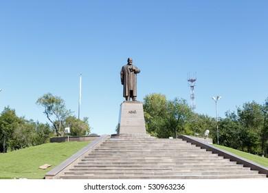 Karaganda, Kazakhstan - September 1, 2016: A monument to Abai Kunanbayev