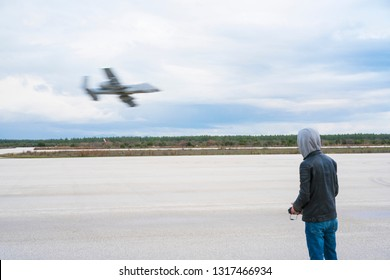 Karain airport, Antalya/Turkey-February 09, 2019: The model plane pilots are flying the different and colorful, remote controlled model planes at Karain airport in  Antalya