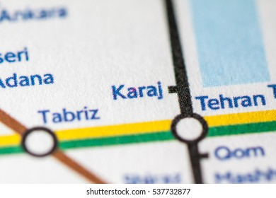 Karaj, Iran on a geographical map.