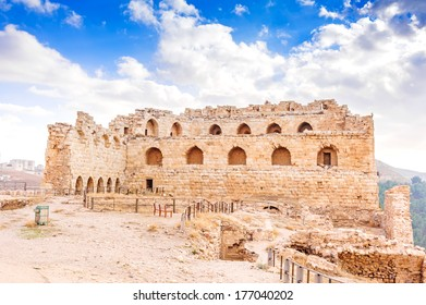 Karak Castle in Al Karak, Jordan. It is one of the largest crusader castles in the Levant and was built in 1142. It is located about 140 km south of Amman.