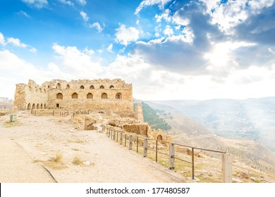 Karak Castle in Al Karak, Jordan. It is one of the largest crusader castles in the Levant. It is located about 140 km south of Amman.