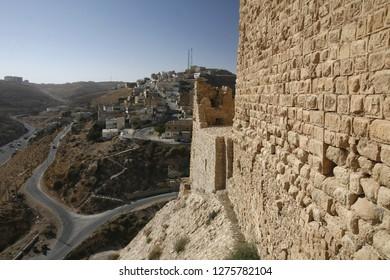 The Karak Castle in the Village of Karak in Jordan in the middle east.  Jordan, Karak, April, 2009