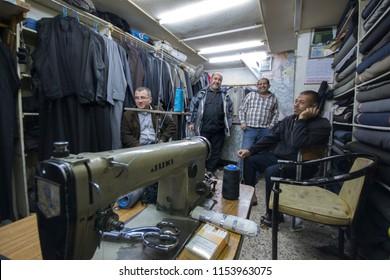Karak, Jordan - April 10 2014 : inside a tailor shop