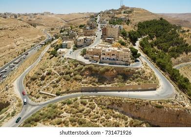 KARAK, JORDAN - AUGUST 22, 2012: View to the city from Al Karak hill in Karak, Jordan.