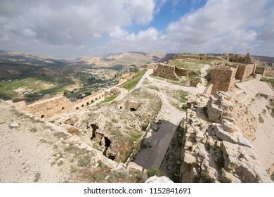 Karak, Jordan :Kerak Castle is a large Crusader castle located in al-Karak, Jordan. It is one of the largest crusader castles in the Levant