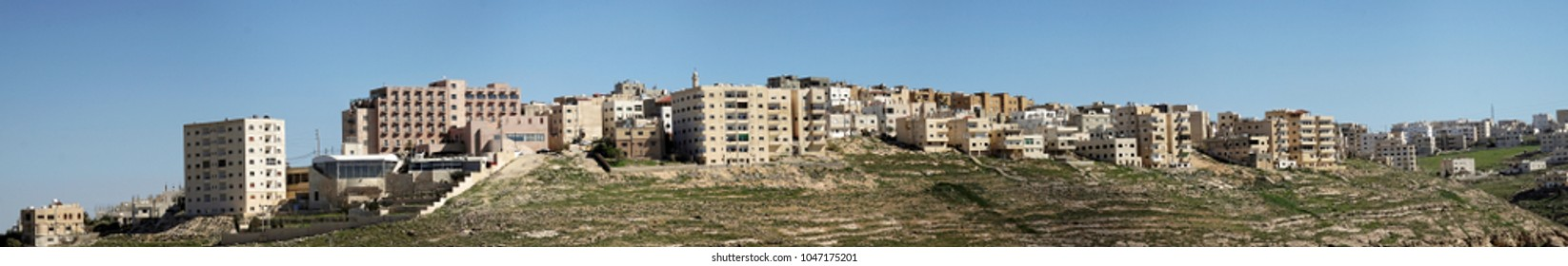 Karak, Jordan, March 10th 2018: Composite high-resolution panorama of the high-rise housing estate on the outskirts of the city of Karak in Jordan., middle east