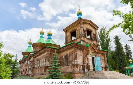 KARAKOL, KYRGYZSTAN - CIRCA JUNE 2017: Orthodox church of the Holy Trinity in the city of Karakol, Issyk-Kul region circa June 2017 in Karakol.
