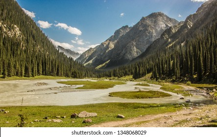 Karakol National Park in Kyrgyzstan. This scenery can be scene on Alakol trekking route. Alakol is one of the best known trekking attraction point in Kyrgyzstan which is 3900m hig