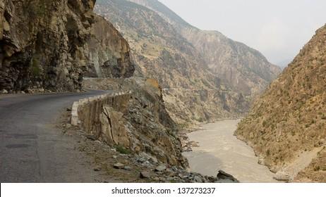 Karakorum Highway in the narrow Indus Gorge in Pakistan.