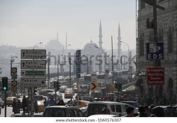 KARAKOY, ISTANBUL, TURKEY - 10 March 2018. Karakoy is one of the most crowded and popular district in Istanbul. During the week it is a business center, on weekends it attracts many tourists.