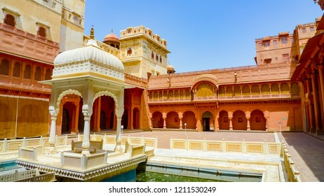 Karan Mahal and pond in the main courtyard of Junagarh Fort, Bikaner, Rajasthan, India