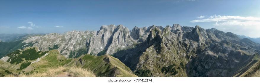 Karanfili Peaks Group panorama in Prokletije Mountains, Montenegro
