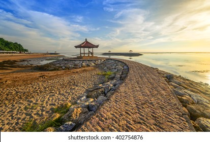 Karang beach Sanur, Bali, Indonesia in the morning.Slightly Noise And Soft Focus.