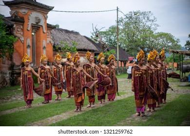 Karangasem, Bali / Indonesia - February 2017 ; Rejang Tenganan Dancer performed as part of Usaba ceremony in the main area of Tenganan Village.
