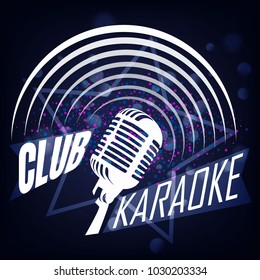 Karaoke club label design. Karaoke music club label
