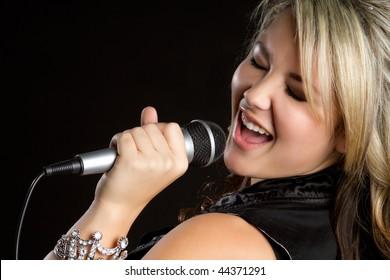 Karaoke Girl Singing