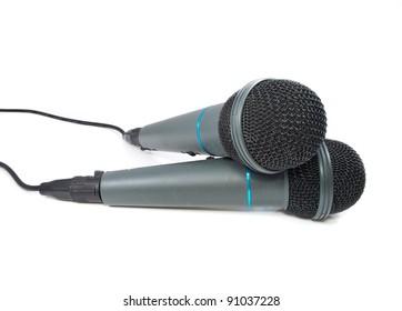 Karaoke microphone. Isolated on white background.