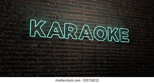 KARAOKE -Realistic Neon Sign on Brick Wall background - 3D rendered royalty free stock image. Can be used for online banner ads and direct mailers.
