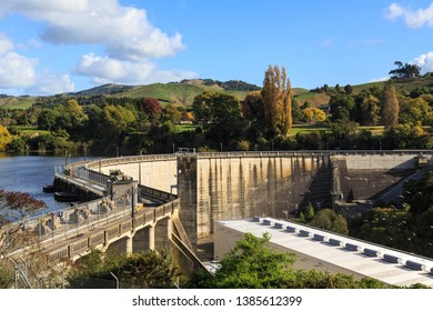 The Karapiro Dam on the Waikato River, New Zealand, in Autumn. Built in the 1940s, its Power Station Has a 90 Megawatt Capacity. Cars Can Drive Across the Dam Using the Public Road on Top